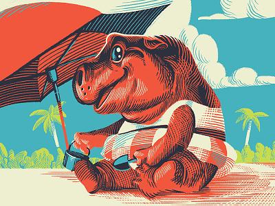 Day At The Beach character design cartoon hippopotamus illustration cute beach hippo
