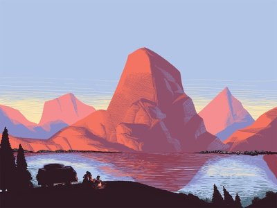#VanLife editorial digital illustration painting national park landscape mountains volkswagen vanlife