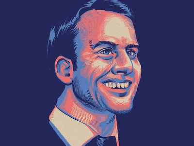 La Espérance painting digital editorial political en marche france illustration portrait macron