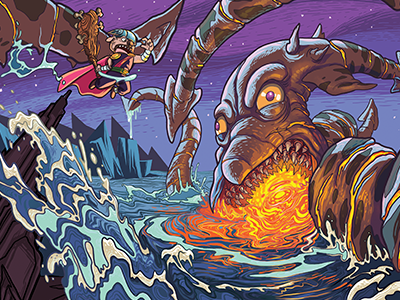 Børk vs Kraken sea dog kraken cartoon action illustration viking pug comics viking pug
