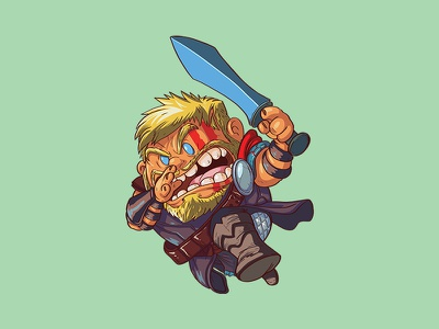 Ragnarok N' Roll cackleberries digital painting marvel character design illustration ragnarok thor