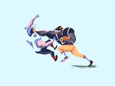 STIFF ARM digital painting football players stiff arm nfl illustration sports football