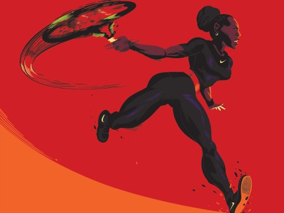 Superhero graphic comic book style comics nike athletes sports tennis illustration portrait serena williams serena