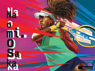 Naomi Osaka tennis player naomi osaka australian open ao tennis osaka athlete sports digital painting design painting portrait illustration