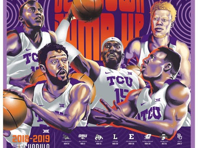 TCU Schedule Poster digital art illustration college sports athlete athletes ncaa basketbal tcu