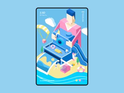 海边旅行2.5d闪屏设计