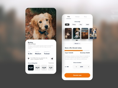 #11 crowdfunding for animal rescue rescue care donate puppy dogs animal design detail uxdaily ui mobile dailychallenge adobexd