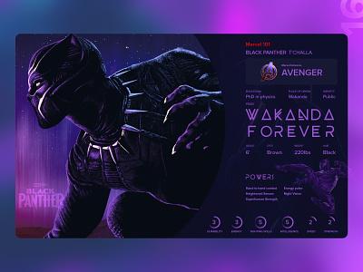 16   Black panther MCU profile bio app movies avenger rip chadwick boseman comics marvel mcu blackpanther profile detail design uxdaily ui dailychallenge adobexd