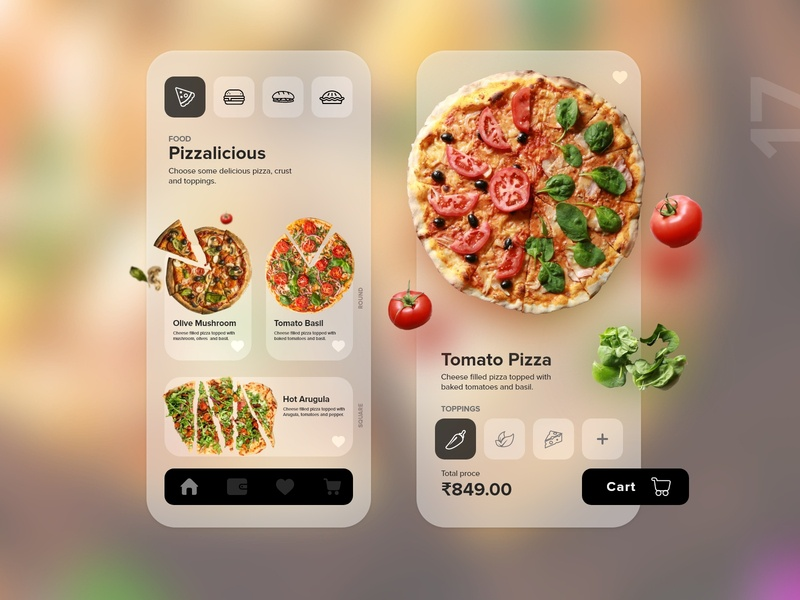 17   Pizza delivery app food app pie sandwich burger eat delivery order pizza food app product page mobile detail design uxdaily ui dailychallenge adobexd