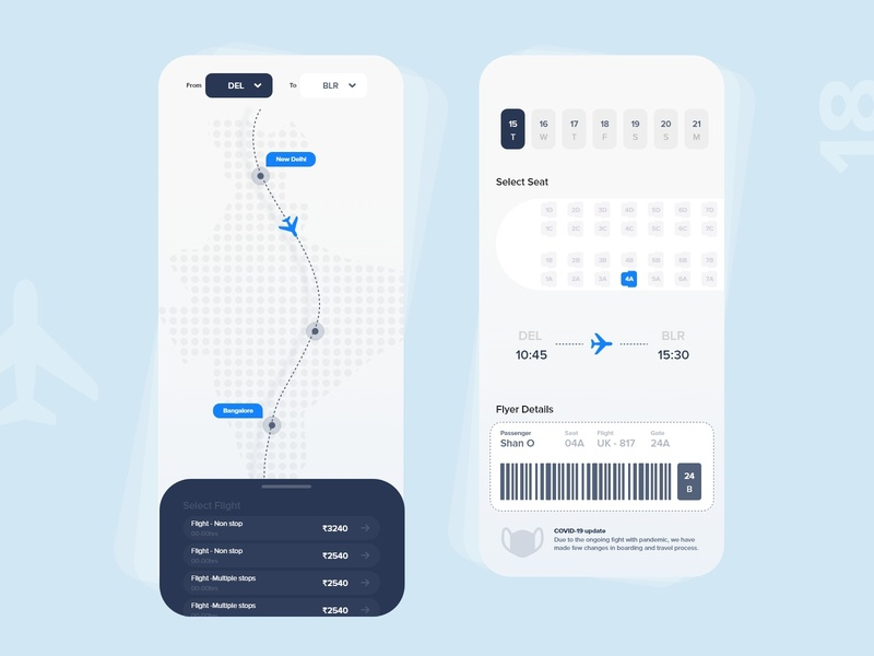 #18   Flight booking app travel booking flight app product page mobile detail design uxdaily ui dailychallenge adobexd