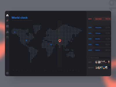 #19   World Clock timezone contacts time map world clock app mobile detail design uxdaily ui dailychallenge adobexd