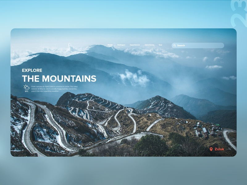 23   Explore the mountains web zuluk himalayas discover travel desktop website detail design uxdaily ui dailychallenge adobexd
