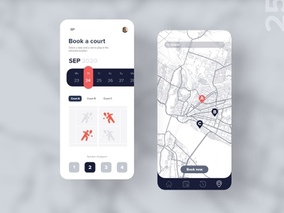 25   Book a court app tennis ball booking navigate map tennis player athlete app mobile detail design uxdaily ui dailychallenge adobexd
