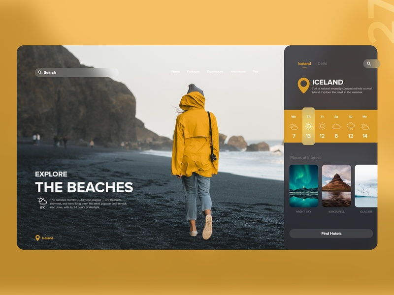 27   Explore the beaches warm weather rain tablet night day mountains jacket yellow travel explore beach iceland app detail design uxdaily ui dailychallenge adobexd