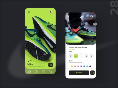 28   shoe selection athlete product page app mobile detail design ui uxdaily dailychallenge adobexd