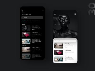 30   Music videos app music art music player player video music app mobile detail design uxdaily ui dailychallenge adobexd