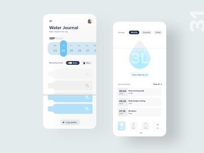 31   Water Journal water player athlete app mobile detail design uxdaily ui dailychallenge adobexd