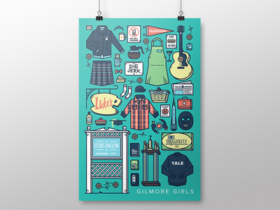 Gilmore Girls | TV Parts Poster stars hollow tv show tv lukes diner rory lorelai thicklines monoweight illustration gilmore girls