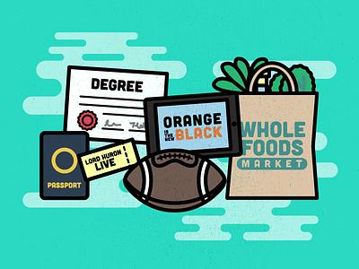 Personas | Header Illustration orange is the new black modern passport ticket football thick lines monoweight minimal vector illustration