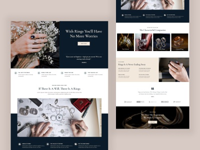 Rings Landing Page Design ui gold luxurious luxury jewelery jewelry jewel rings ring