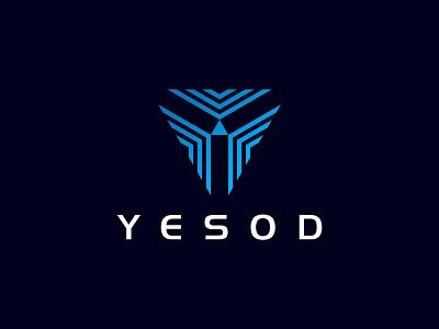 Yesod zaqdesign brand blue grapgic design technology tech company icon vector logo illustration identity flat design branding