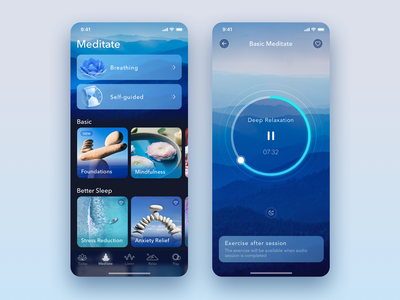Music Zen App - Meditate Player android app app design iphone app player music relaxing breathing breathe gismart music app music player application app zen relaxation relax meditation meditate