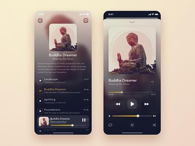 Music Player & Playlist 🎵 zen music player music app ui application app buddha music app playlist cover playlist player music