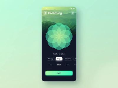 Breathe widget for Relax App 🍀 calming calm relax app flower zen relaxing helth meditation meditate app design mobile animation json mobile breathing breathe