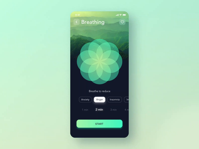 Breathe widget for Relax App 🍀 calming calm relax app flower zen relaxing helth meditation meditate app design mobile animation json mobile breathing breathe