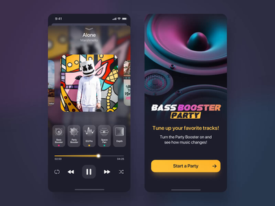 Equalizer App Music Player  itunes spotify audio player ux ui app design party mobile buttons аnimations ios playlist musicapp bass music player app music player equalizer