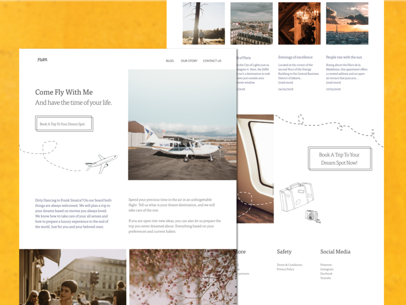 Come Fly With Me homepage website web interface doddling tisa experiences airplanes traveling kulturowa ux design sketch ui