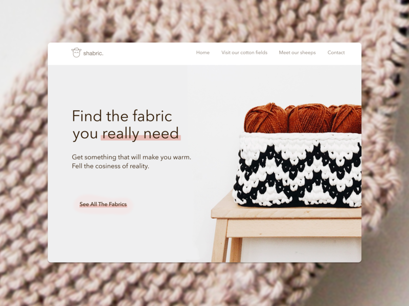 Fabric - something to make you warm ui  ux design uidesign material icons natural cozy sweater lamb sheep hygge cosy figma figmadesign homepage interface fabric sketch