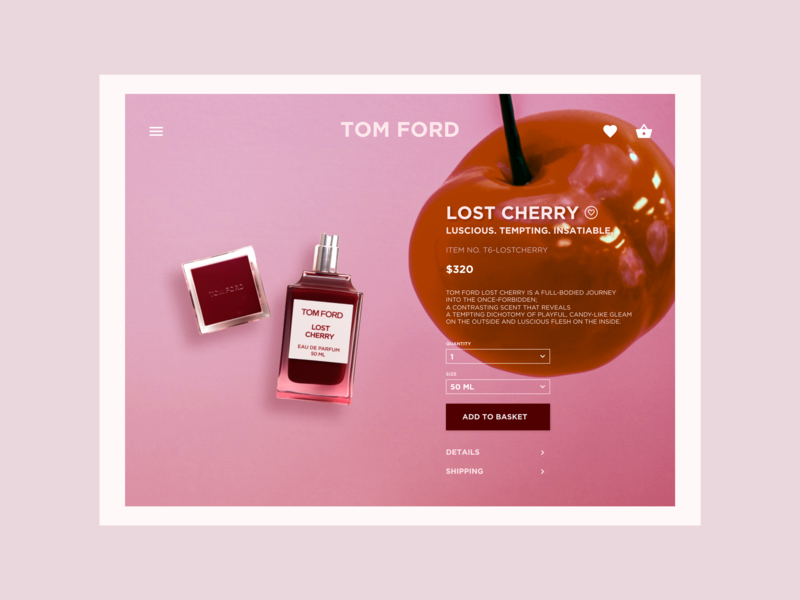Lost Cherry - TOM FORD - luscious, tempting, insatiable 🍒 juicy 80s 70s 60s retro ecommerce shop ecommerce redesign cherry pink fragrances perfume sephora campaign lost cherry tom ford
