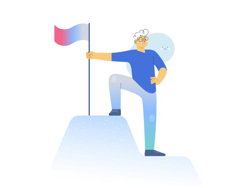 Achievement mountain goal achievement design vectorart minimal vector illustration flat adobe illustrator