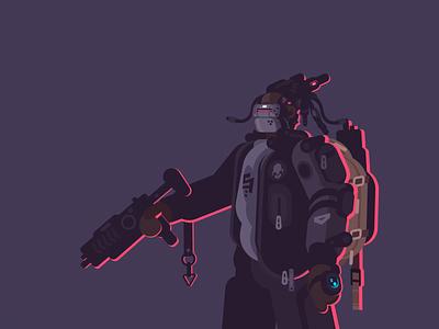 Wildcard laser gun cyberpunk illustration character vector motion design animation after effects