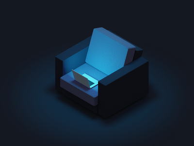 #StayHome night remote chair lowpoly covid19