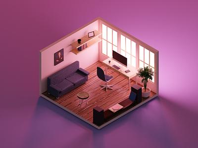 Room lowpoly blender 3d