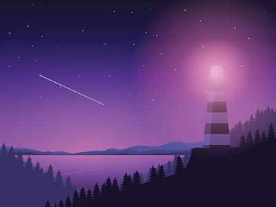 Perseids lighthouse landscape night fallen star perseids
