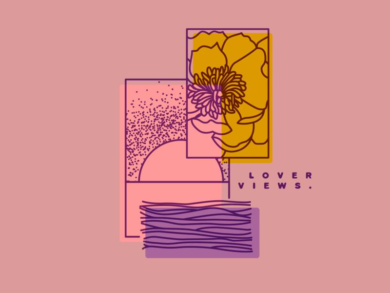 Lover Views illustration vector sea sun drawing flowers geometric