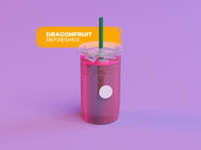 Dragonfruit 3d ice liquid geometric dragonfuit starbucks beverage cinema4d