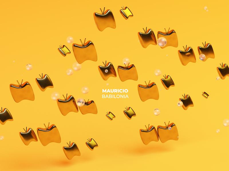 Mauricio Babilonia bubbles gold butterflies 3d cinema4d cinema illustration
