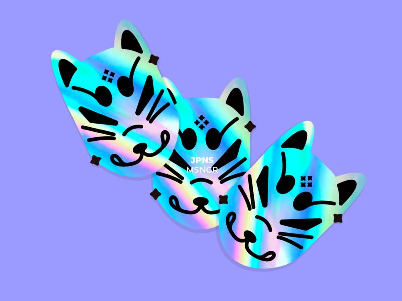 Japanese Messenger geometric mask fox holographic illustration vector