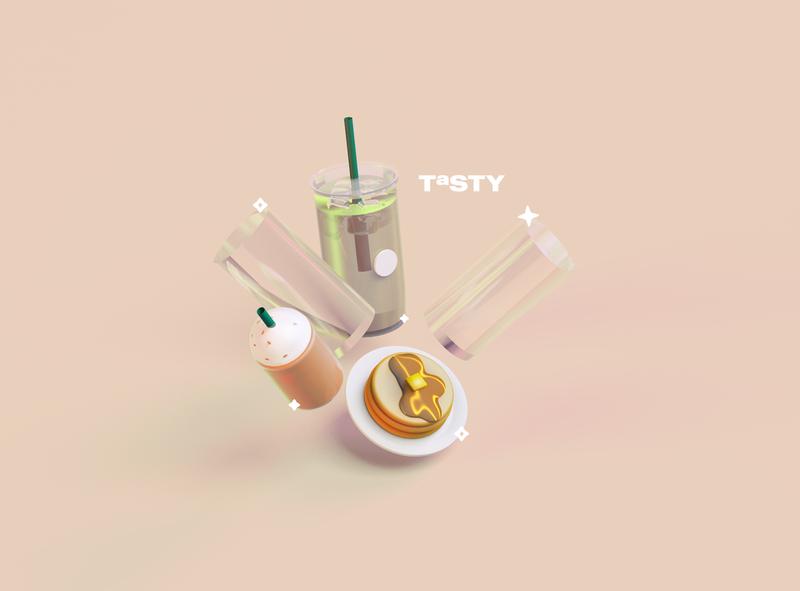 Tasty coffee pancakes beverage food cinema 4d 3d cinema4d illustration