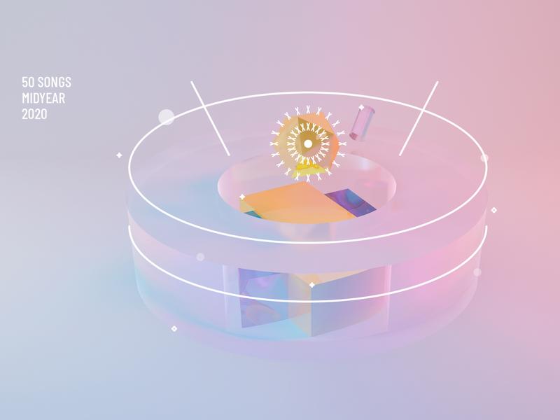 Mid 2020 playlist music reflection 3d cinema 4d geometric vector