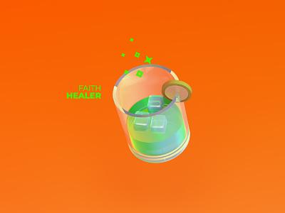 Faith Healer geometric glass soda fanta drink beverage 3d cinema 4d cinema