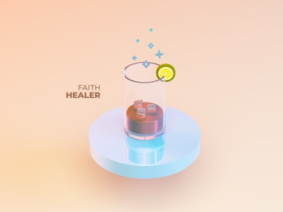 Faith Healer Pt 2 ice glass lemon soda beverage drink geometric 3d cinema 4d cinema4d