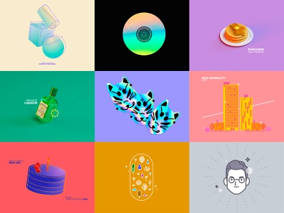 Top9 2020 holographic top9 cinema4d 3d illustration vector