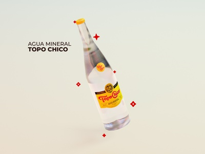 Topo Chico bottle mexico mineral water bottle 3d cinema 4d cinema4d