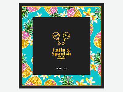 Latin & Spanish Style maraca colorful pineapple music vector art sleeve album cd