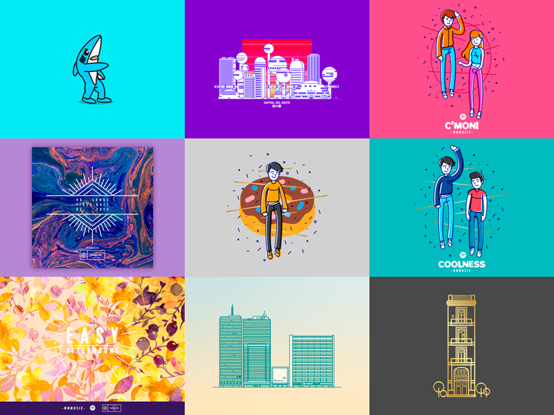 2015 Best Nine best nine characters buildings collage collection illustration vector